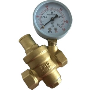 DN half inch brass pressure reducing valve with gauge