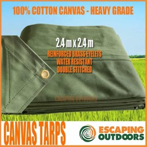 Escaping Outdoors 2.4m x 2.4m heavy duty canvas tarpaulin