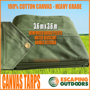 Escaping Outdoors 3.6m x 3.6m heavy duty canvas tarpaulin