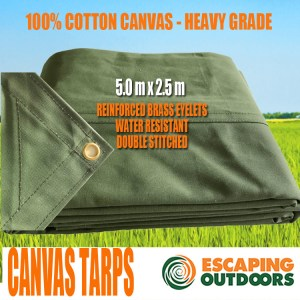 Escaping Outdoors 5.0m x 2.5m heavy duty canvas tarpaulin