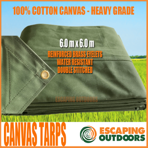 Escaping Outdoors 6.0 x 6.0m heavy duty canvas tarpaulin
